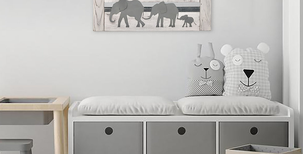Parade of elephants nursery wall art in small size- Whitewash wood and metal