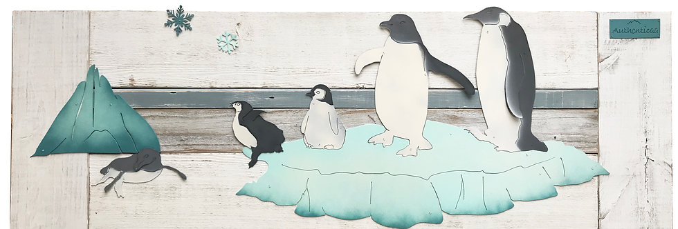 Penguin family nursery wall art - Whitewash reclaimed Wood and Metal