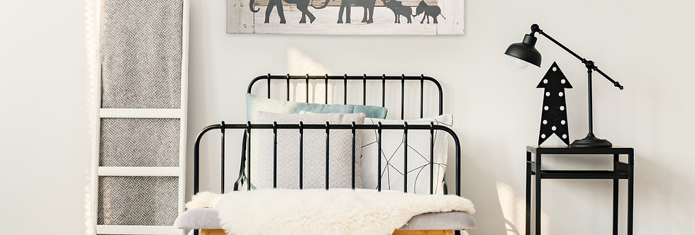 Parade of elephants nursery wall art in small size- Reclaimed wood and metal
