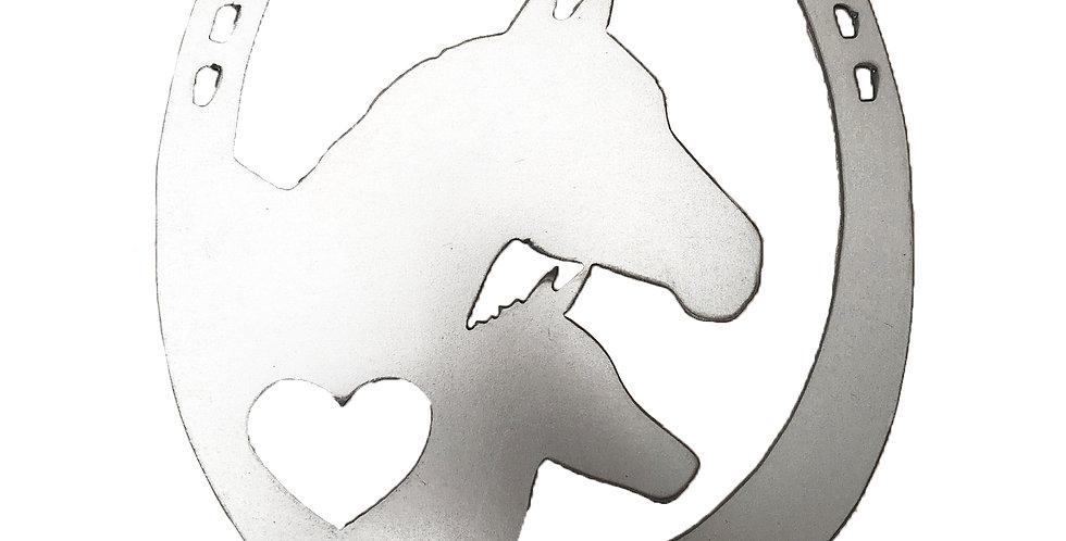Horseshoe with 2 horses metal shapes