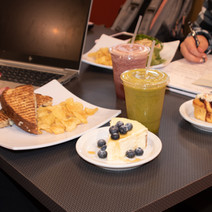 Grilled cheese, chips, and smoothies on