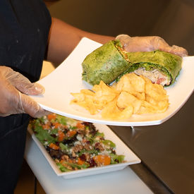 Delicious wraps, salad, and chips.JPG