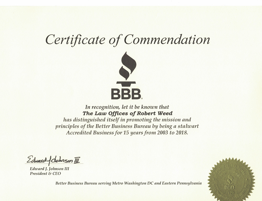 Better Business Bureau Commendation Bankruptcy Law Office of Robert Weed