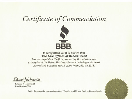 Commendation from the Better Business Bureau