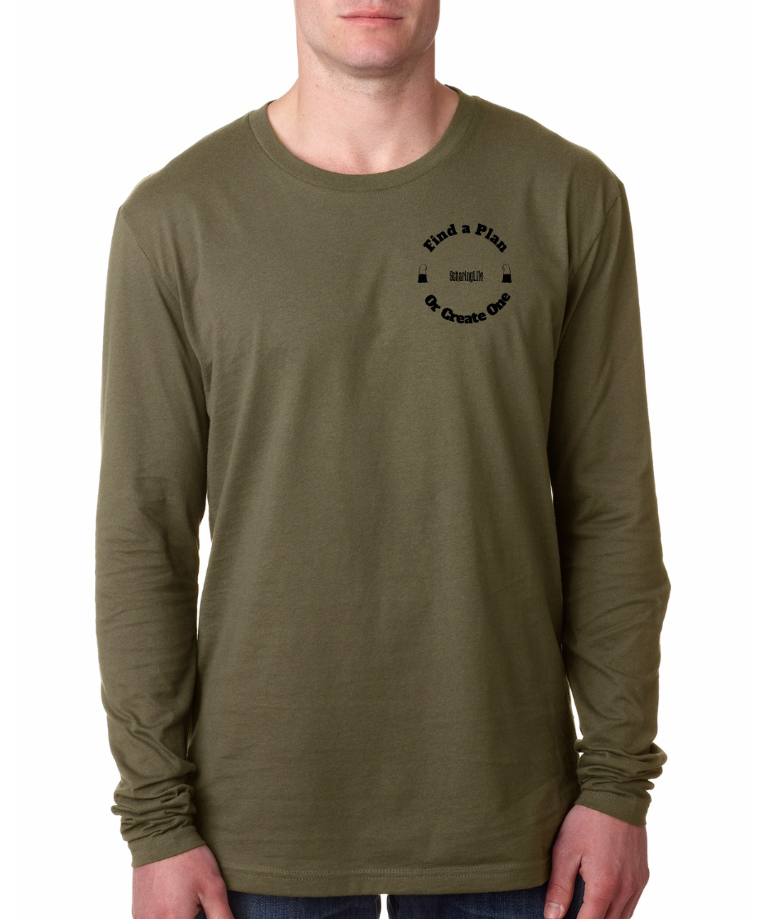 front Find plan military green long