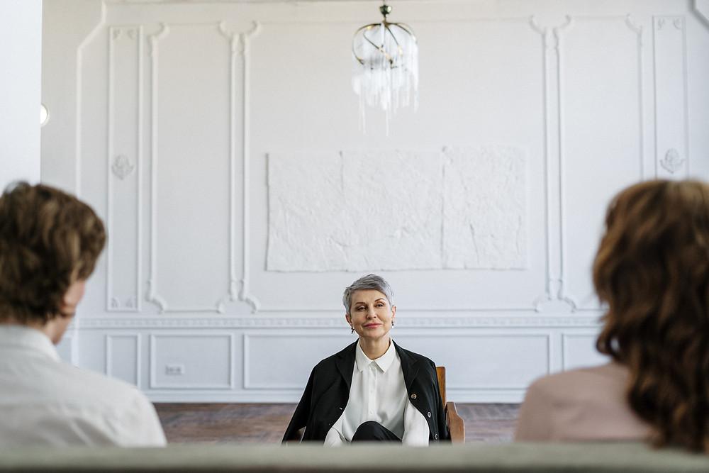 Two people attending divorce mediation