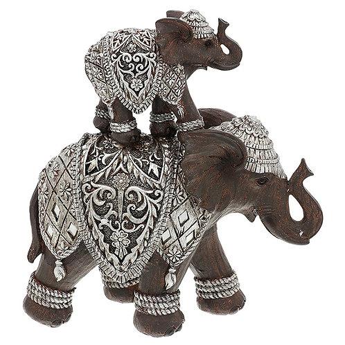 Silver Iron Mum & BAby Elephant