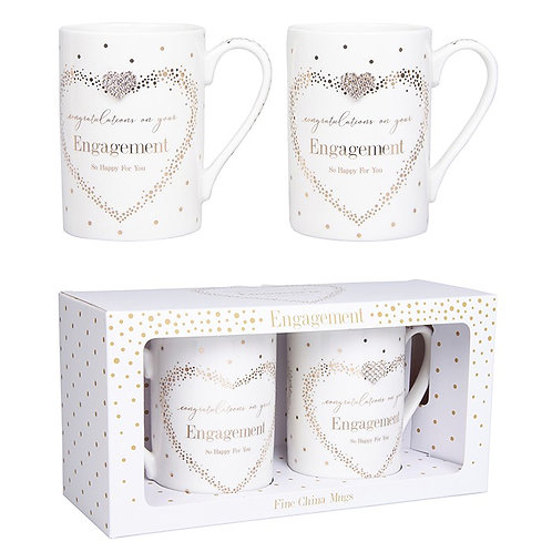 Mad Dots Pair of Engagement Mugs