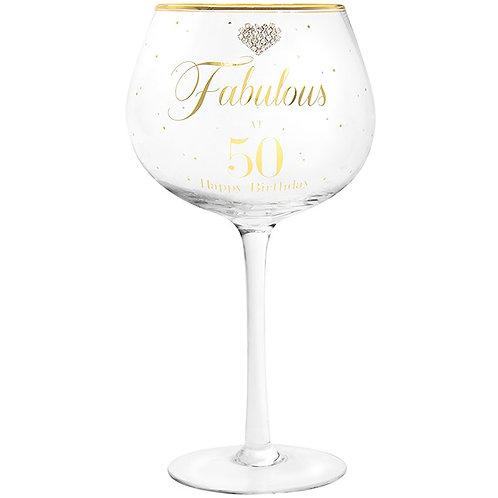 Fabulous at 50 Gin Glass