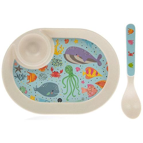 Sea Life Eco-Friendly BambooEgg Plate