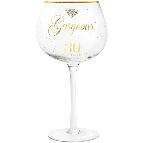 Gorgeous at 30 Gin Glass
