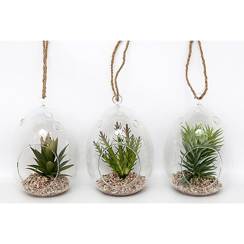 Hanging Faux Succulent in Dome