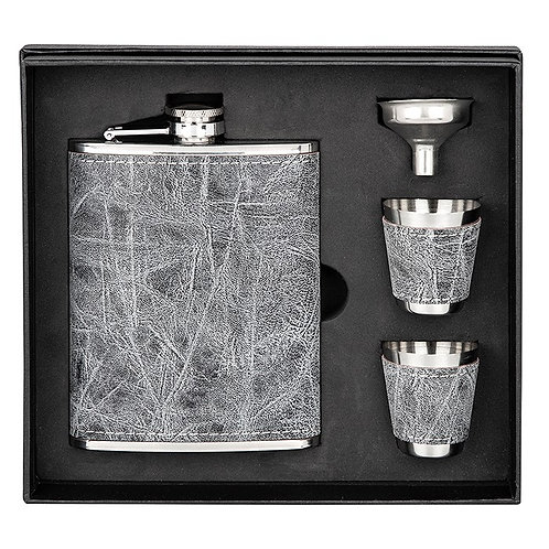 Grey Hip Flask and Cup Set