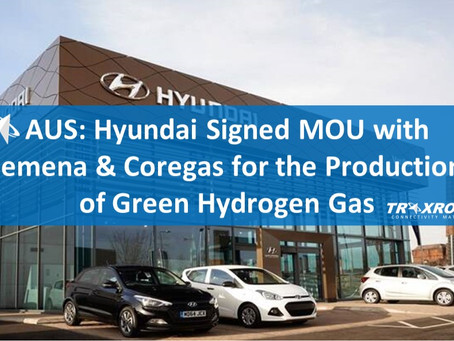AUS: Hyundai Signed MOU with Jemena & Coregas for the Production of Green Hydrogen Gas for Fleet