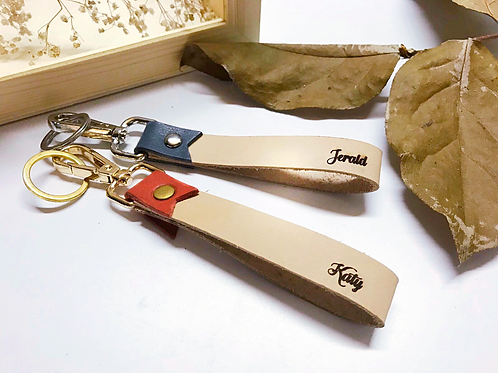 Leather Ribbon keychain with engraved Name