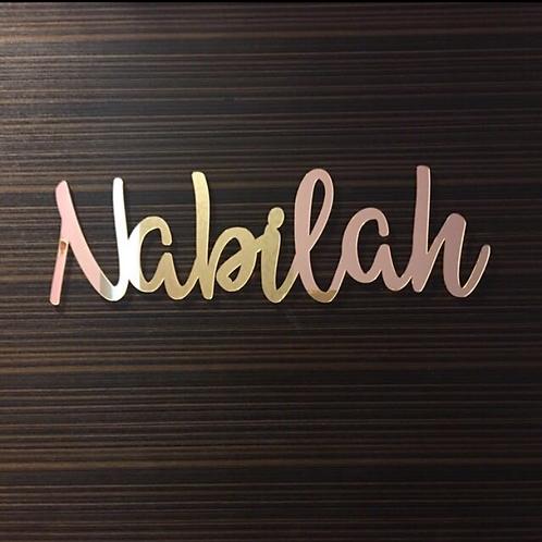 Single Name Mirror Acrylic Wall Decor