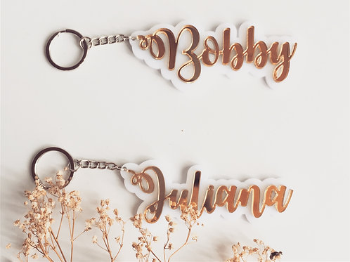 Customised Beau KeyChain Tag (3D White w  Gold)