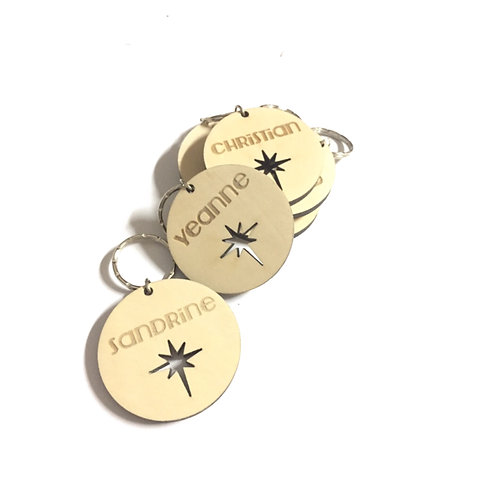 Wooden Customised Bag Tag Keychain