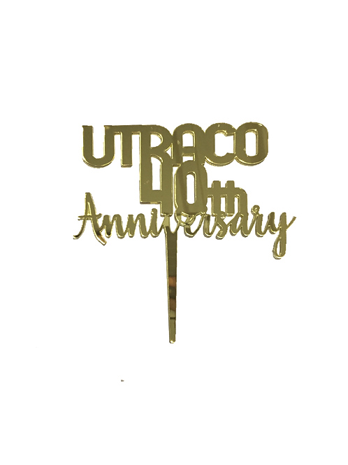 """""""Name"""" & Anniversary Gold Mirror Topper"""