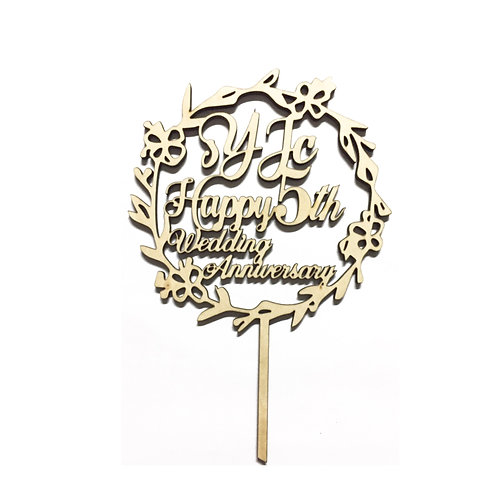 Customised Name Flower Wreath Topper