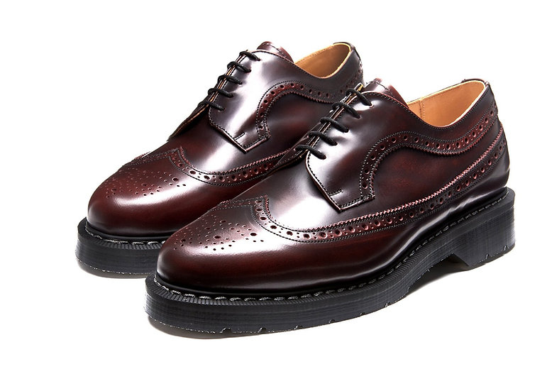 "Burgundy Rub-Off American Brogue Shoe ""Solovair UK"""