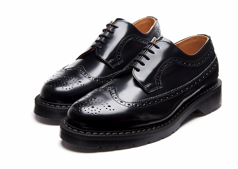 "Black Hi-Shine American Brogue Shoe ""Solovair UK"""