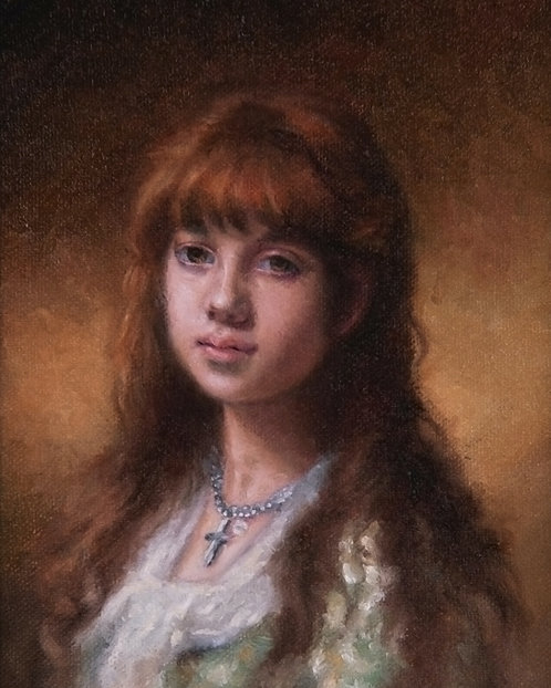 Miniature Portrait - Red Headed Woman - After Harlamoff