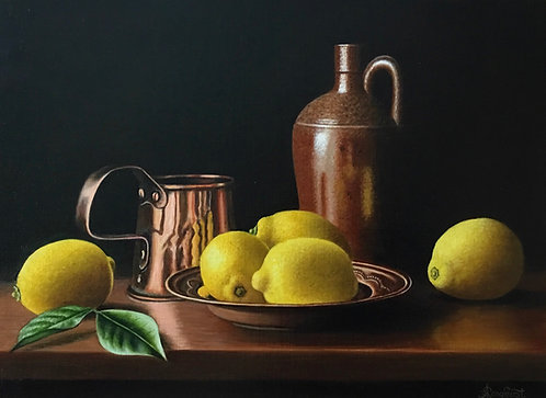 Copper Dish with Lemons