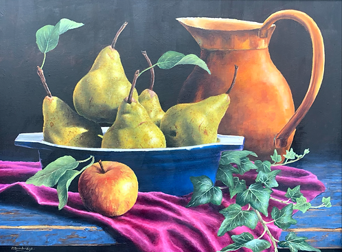 Pears in Bowl with Jug