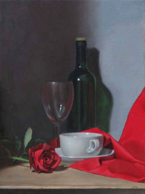 Still Life with Red Fabric
