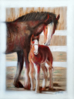 Horses Pastel Painting by Simon Aberlé