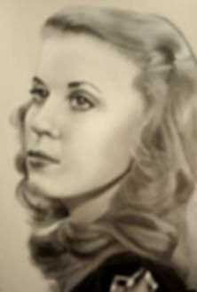 Self portrait of Bea Doone-Merena at age 17. Oil on Canvas.