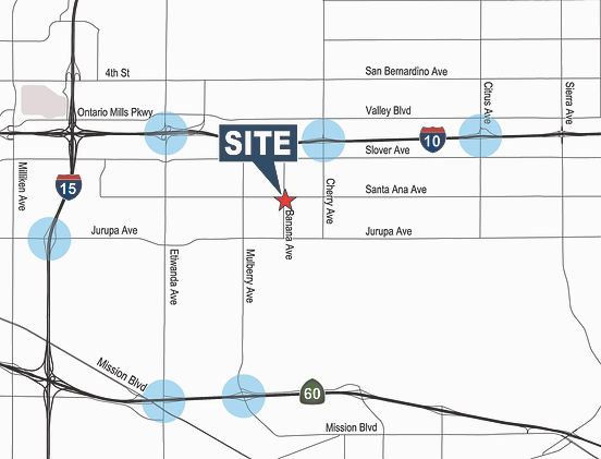 Santa Ana Ave & Banana Ave, Fontana Map