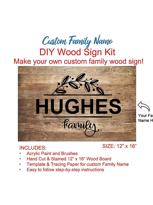CUSTOM FAMILY NAME ~ DIY WOOD SIGN KIT (LARGE)