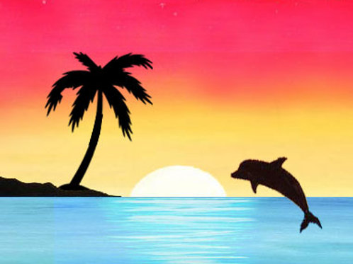 Dolphin Sunset - Kids Paint Ages 7+