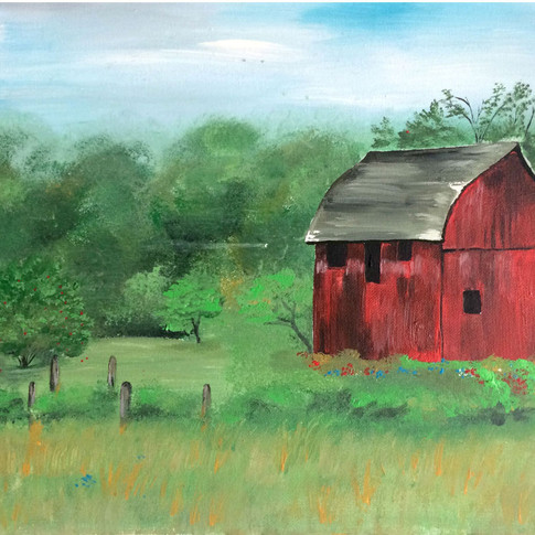 Red barn in the mist