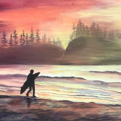 Surfer in the Sunrise