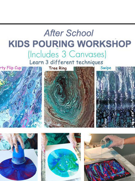 KIDS Pouring Workshop Age 6+ (Includes 3 Canvases)