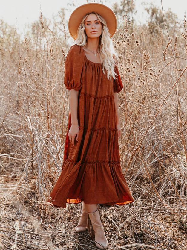 Emma Rust Off the Sholder Dress