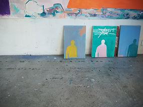 Laurence Briat | peintures | atelier | couleurs | silhouette | présence | série ostinato |