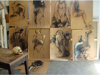 Laurence Briat | dessins | vanités | fusain | pastels | grands formats | modèle vivant |