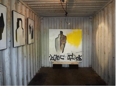 Laurence Briat | exposition l conteneur maritime | acrylique sur toile l graphisme l silhouettes | gravures l grands formats l