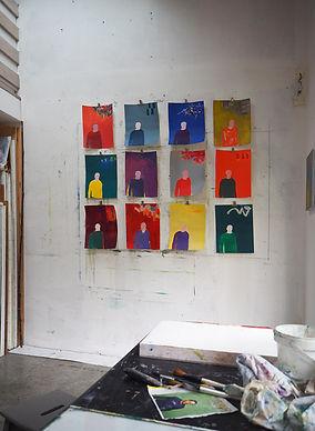 Laurence Briat | atelier | peinture sur papier | couleurs | présence | séries | répétitions | ostinato |