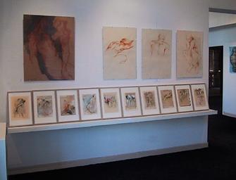 Laurence Briat | dessins | sanguine sur papier l fusain | corps | exposition | galerie Pézénas | occitanie |