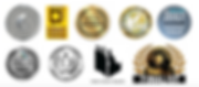 The award seals of the nine literary honors and awards that Laurie Buchanan's books have received to date