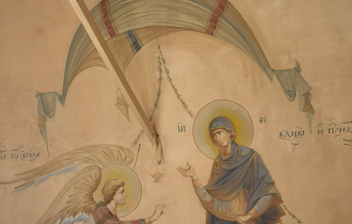 Благовещение, роспись на северной стене