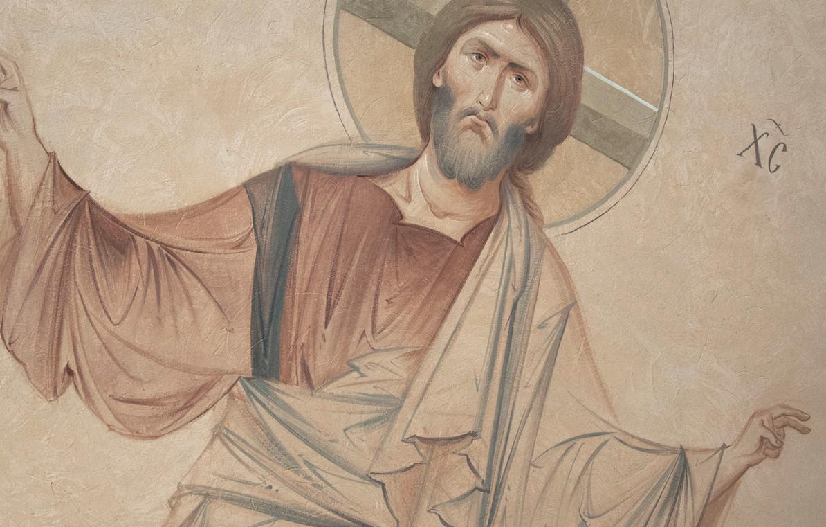 Христос Пантократор, роспись в притворе храма св. Николая (верхнем)