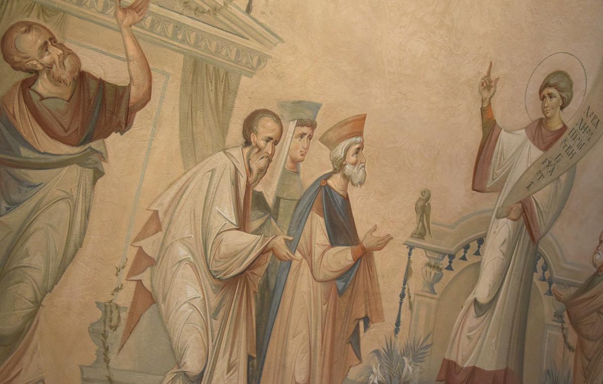 Покров, роспись свода в притворе верхнего храма, фрагмент