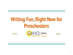Writing Fun, Right Now for Preschoolers