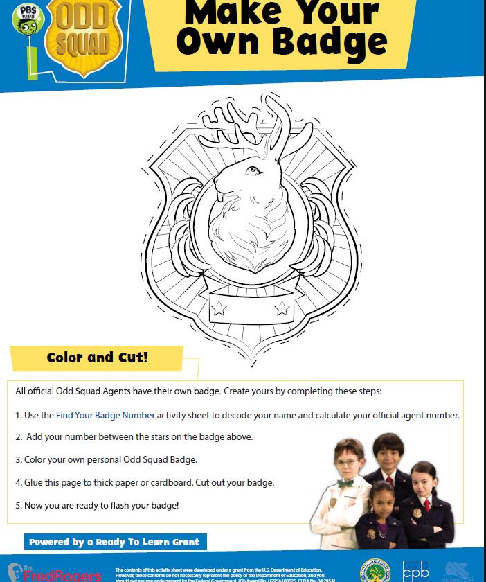 image of an odd squad make your own badge worksheet